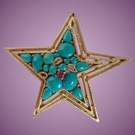 Vintage Capri Star Brooch With Blue Stone And Rope Detail