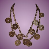Vintage JOSEFF OF HOLLYWOOD Russian Gold Tone Chinese Coin Necklace.