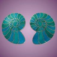 Vintage Cloisonne Enamel Sea Shell Clip On Earrings