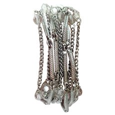 Vintage Coro Silver Tone Multi Strand Bracelet with Crystals