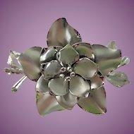 Vintage Coro Silver Tone Flower Brooch