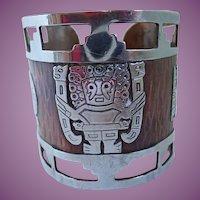 Vintage Peruvian Aztec Mayan Tribal Sterling & Copper Wide Cuff Bracelet