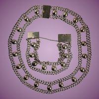 Vintage FAR FAN Mexican Pre 1948 Sterling Necklace and Bracelet