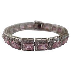 Vintage Pink Ice CZ Tennis/Line Bracelet