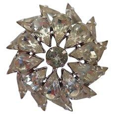Vintage Weiss Rhinestone Pinwheel Brooch