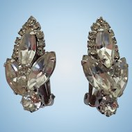 Vintage Weiss White Rhinestone Climber Clip Earrings