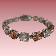 Clear and Citrine Colored Large Crystals Tennis/Line Bracelet