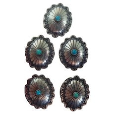 Vintage Southwestern Concho Turquoise Colored Stones Button Covers