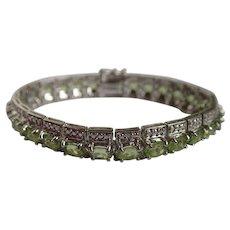 Vintage Green Ice CZ Tennis/Line Bracelet