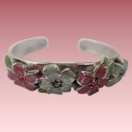 Vintage Pewter Cuff/Bracelet with Enamel Flower and Rhinestones