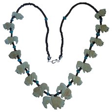 "Vintage Carved Buffalo 28"" Necklace Heishi Beads and Turquoise Colored Stones"