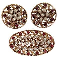 Vintage Demi-parure Brooch and Earrings