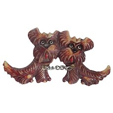 Vintage Double Scottie Dog Celluloid Brooch Pin