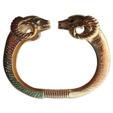 Vintage Kenneth Jay Lane Rams Heads Clamper Bracelet for Avon
