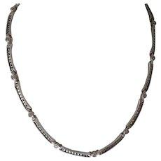 Vintage Judith Jack Sterling Silver Marcasite & Crystal Necklace Choker