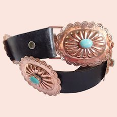 Vintage Copper & Turquoise Colored Stones Southwestern Navajo Style Concha Belt