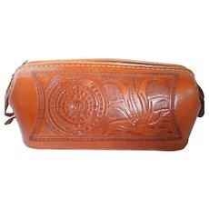 Vintage Mexico Tooled Leather Aztec Travel Kit Bag/Case