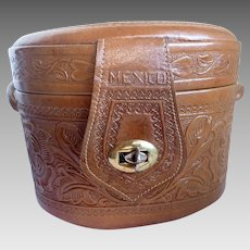 Vintage 1950's Mexican Purse/Travel Case Oval Embossed Leather