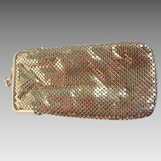 Vintage Whiting and Davis Gold Tone Metal Mesh Cigarette or Eyeglass Case