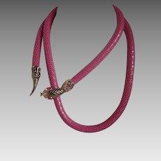 Vintage D.L. Auld Co Pink Mesh Snake Belt or Necklace