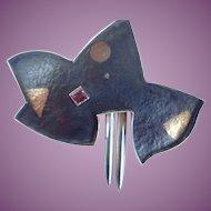 Vintage Modernist Wolf Dosch Brooch/Pendant Sterling/18K/Tourmaline