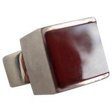 Vintage Joachim S'Paliu Modernist Sterling Silver With Carnelian Ring