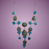 Designer and Artisan Turquoise and Sterling Waterfall/Bib Necklace