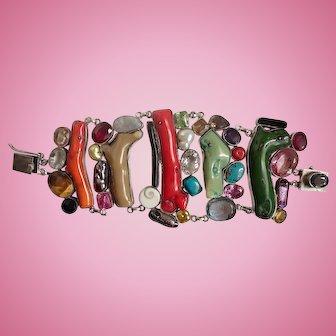 Designer Artisan Huge Sterling Statement Bracelet w/Semi Precious Stones