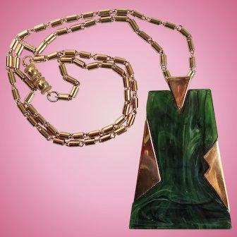 Vintage Trifari Green Geometric Shape Pendant & Chain