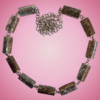 Designer Artisan Sterling Barrel Necklace Signed ER