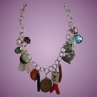 Designer Artisan Sterling and Charm Necklace