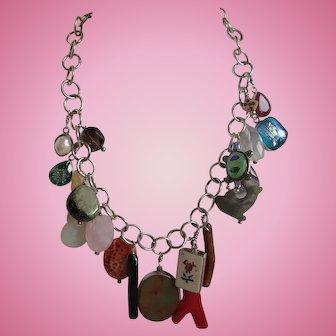 Designer Artisan Sterling and Charm Necklace