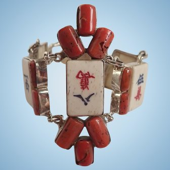 Designer Artisan Mah Jongg Tile and Coral Sterling Bracelet
