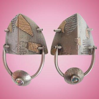 Designer Artisan Modernist Sterling Earrings