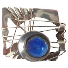 Artisan Designed Modernist Sterling and Enamel Brooch/Pin