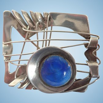 Artisan Designed Modernist Sterling and Enamel Brooch/Pin