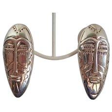 Designer Artisan Tribal Head Large Sterling Earrings