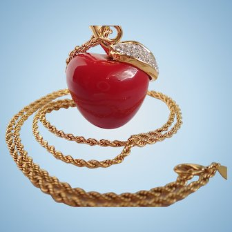 """Vintage Kenneth Jay Lane """"The Big Apple"""" Necklace"""