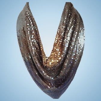 Vintage Whiting and Davis Ombre Gold/Bronze/Copper Mesh Necklace/Bib/Scarf