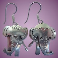 Vintage Mexican Sterling Elephant Wire Earrings