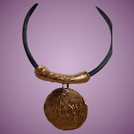 Vintage Donna Karan High Impact Medallion Necklace