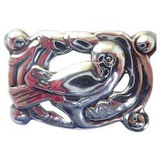 Vintage Georg Jensen Style Sterling Silver Dove Bird Modernist Pin Brooch