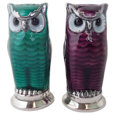 Vintage David Andersen Norwegian Guilloche Enameled Sterling Silver Owl Salt & Pepper