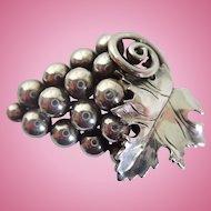 Vintage Alphonse La Paglia Sterling Silver Grapes Pin