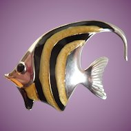 Sterling & Enamel Angel Fish Italy Brooch Pin