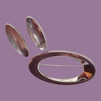 "Vintage Hans Hansen ""Future Line"" Danish Sterling Brooch/Pin & Earrings"