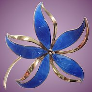 Vintage HROAR PRYDZ/NORWAY Guilloche Enamel and Sterling Dimensional Flower Brooch