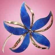 Vintage HROAR PRYDZ/NORWAY Guilloche Enamel and Sterling Dimensional Flower Brooch