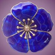 Vintage OGH Denmark Sterling & Enamel Flower Brooch/Pin