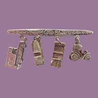 Vintage Sterling Charm Bar Pin/Brooch with Sterling 3D Classic Cars Charms